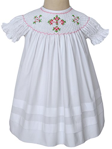 Carouselwear Girls Easter White Dress Christening Cross Dress Hand Smocked