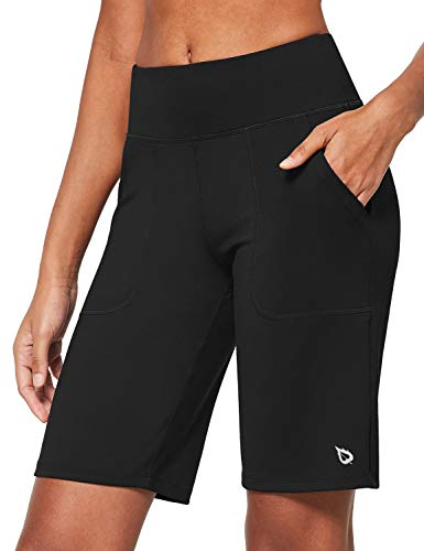 BALEAF Women's 10'' Athletic High-Waisted Bermuda Long Shorts Running Yoga Lounge Stretch Workout Pockets