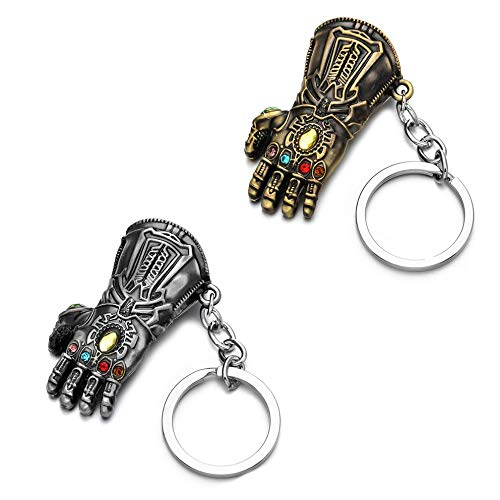 Sio & Tan Thanos Glove Keychain Nidavellir Infinity Gauntlet Key chain Key Ring (Silver & Bronze, 2 Pack) (Iron Fist Flats Size 7)