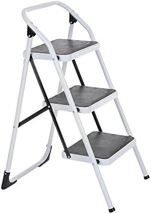 Galapara Escalera Plegable Robusto 3 peldaños, 3 Pasos con la Mano Marco Iron Grip Escalera Portátil de Aluminio Antideslizante Multiuso: Amazon.es: Hogar