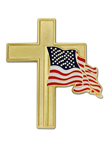 PinMart American Flag Gold Cross Religious Military Patriotic Lapel Pin