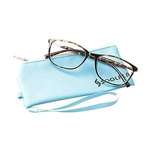 SOOLALA Lightweight TR90 Full Frame Oversized Clear Lens Eyeglasses Reading Glasses, Leopard, 3.0D