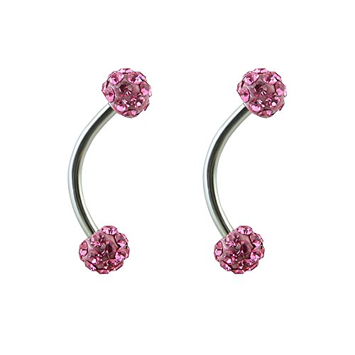 16g Tiny 4mm Crystal Ball Curved Barbell Eyebrow Ring Helix Daith Cartilage Rook Piercing (Pink 2pcs)