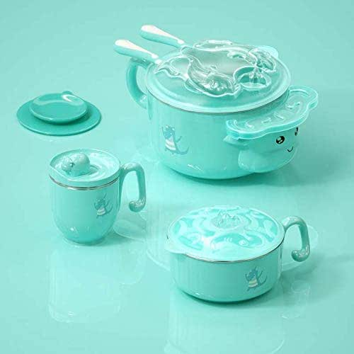 FTFTFTF Children's Food Supplement Feeding Tableware, Insulation Bowl Spoon Set Complementary Food Bowl Sucker Bowl Children's Tableware,A