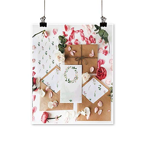 Art Picture Colorful Canvas Print workspace wed Invitation Cards Craft envelopes Pink re Roses Paintings for Living Room,24