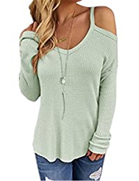 Ninimour Womens Cold Shoulder Loose Knitted Sweater Top Blouse