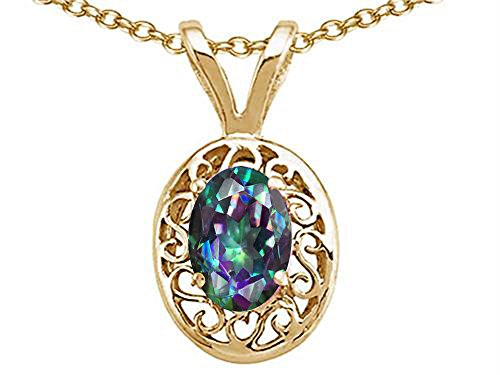 Tommaso Design Oval Mystic Rainbow Topaz Pendant Necklace 14 kt Yellow (Fire Topaz 14k Gold Pendant)