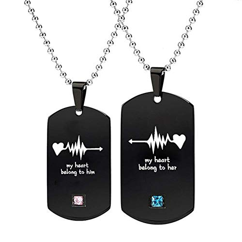 LIANTSH My Heart Belong to Him/Her Letters Titanium Steel Pendant Chain with Rhinestone for Lovers/Couple Necklace Beautiful Decor Gift-Pack 2