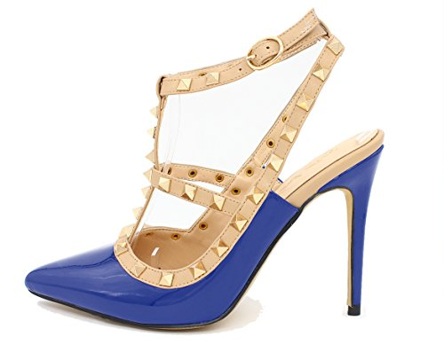 SexyPrey Women's Plus Size Pointed Toe Studded High Heels Ankle Strap Court Shoes Gladiator Sandals Blue tFvJX