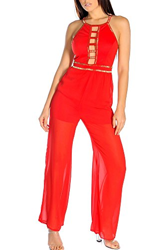 Limit 33 Juniors Teens Sexy Beaded Embellished Club Going Out Special Occasion Jumpsuit Red Size S Juniors Embellished
