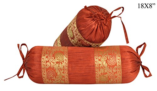 - Lalhaveli Silk Bolster Designer Rajasthani Cushion Covers Bed Room Decorations 18 x 8 Inch