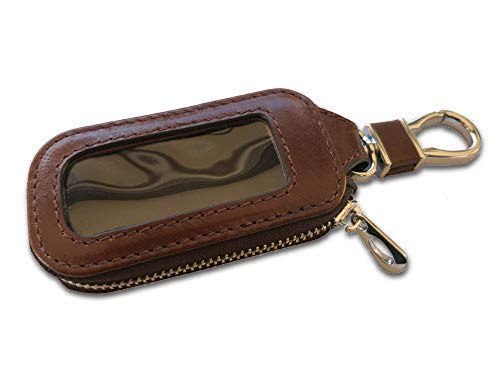 Car Key FOB Case - Universal Pouch with Clear Window and Keyring Snap Hook for Keyless Entry Remote Switch and Keychains. Made of Heavy Duty Genuine Top Grade Leather That Lasts. (Coffee Brown)