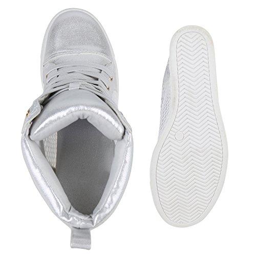 Stiefelparadies Damen Sneaker Wedges Glitzer Turnschuhe Metallic Sportschuhe High Heels Keilabsatz Schuhe Zipper Ketten Flandell Silber Autol