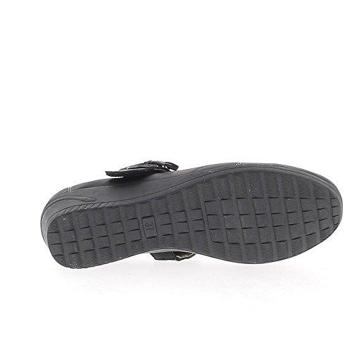 Bronzo di scarpe donna comfort nero Tacco 4cm bordato