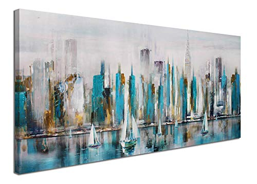 Large Manhattan River Abstract Painting Canvas Wall Art Decor Modern City New York View Painting Artwork for Living Room Bedroom Office Home Decoration Large -