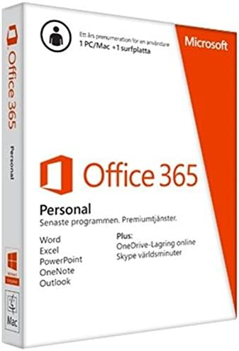 Microsoft Office 365 Personal - Suites de programas (SWE, 1366 x 768 Pixeles, Windows 7 Home Basic, Windows 7 Home Basic x64, Windows 7 Home Premium, Windows 7 Home Premium x64, ,