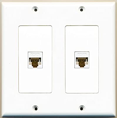 RiteAV - 2 Port Cat6 Ethernet White - Dual Gang Wall Plate
