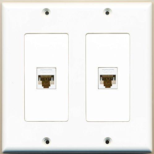 RiteAV 2 Port Cat6 Ethernet White Dual Gang Wall Plate