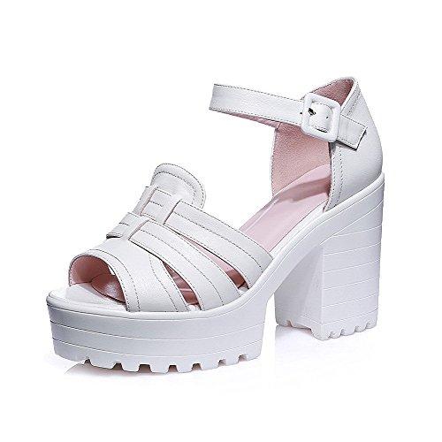 AllhqFashion Women's PU Solid Buckle Peep Toe High-Heels Sandals White 6YVgHy