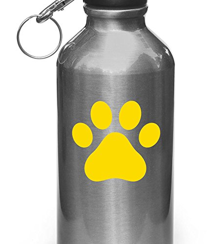 Dog Pawprint - Paw Print - Vinyl Water Bottle Decal - Copyright Yadda-Yadda Design Co. (YELLOW)(SM 3