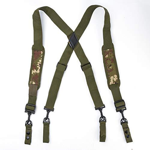 MeloTough Tactical Heavy Duty Suspenders,Police Suspenders for Duty Belt Suspenders with Padded Adjustable Tool Belt Suspenders Camo Green (Best Suspenders For Tool Belt)