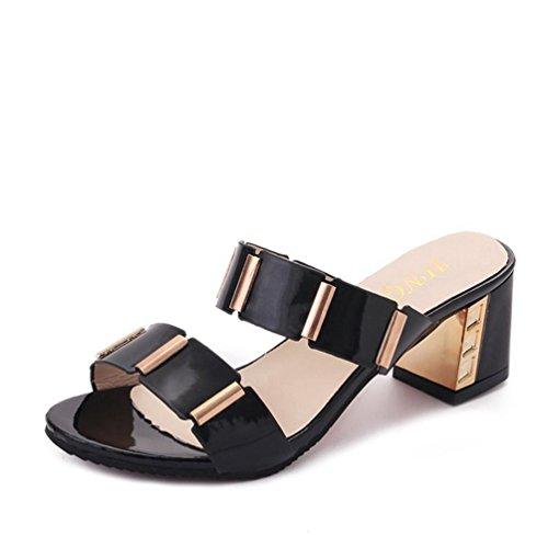 Plateforme Ouvert à pour Hauts à Glissière à Chaussures Sandales à Femmes Bout Sandales Chaussures Talons Noir Talons JITIAN à aq4REPxw