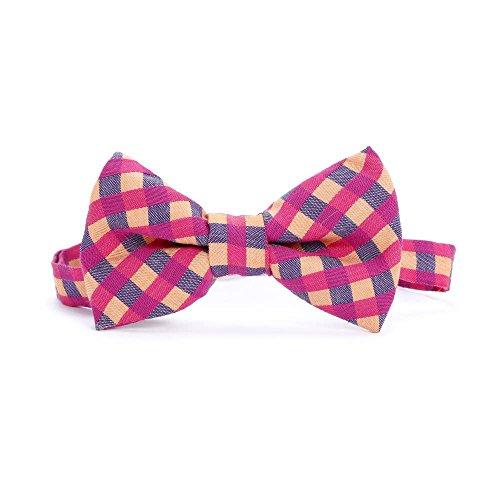 Peppercorn Kids Boys Bow Tie- Plaid- (Raspberry Bow)