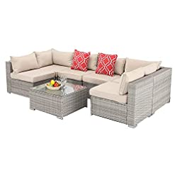 Garden and Outdoor Furnimy 7 PCS Outdoor Patio Furniture Set Cushioned Sectional Conversation Sofa Set Rattan Wicker Gray with Tempered… patio furniture sets
