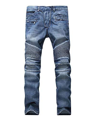 Classiche Uomo Slim Fit Strappati Vintage Stretch Motociclista Da Jeans Casual Ragazzi Pantaloni Blau aF0Tqwx