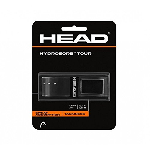 HEAD Hydrosorb Tour Tennis Racket Replacement Grip - Tacky Racquet Handle Grip Tape - Black