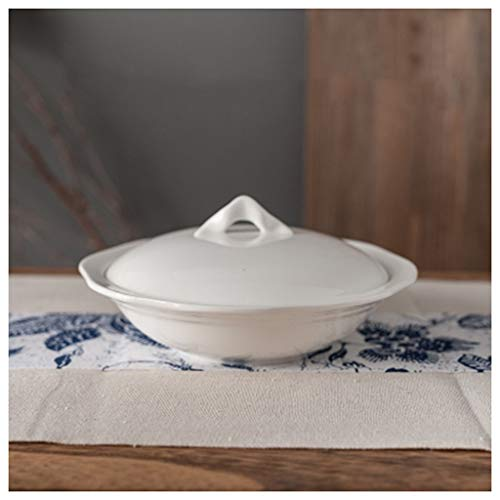 (SMC Bowl Ceramic Bird's Nest Stewed Sugar Dessert Steamed Egg Soup Bowl Pure White Covered Home Hotel Bowl (Size : 12.5x3.5x6x15cm-6)