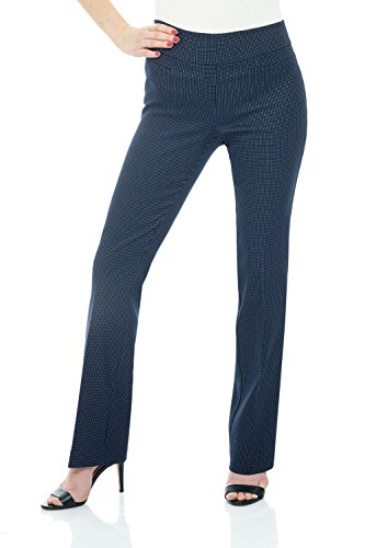 Rekucci Women's Ease in to Comfort Boot Cut Pant (16,Navy/White Dotted Lines)