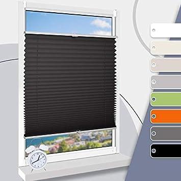 Faltrollo verdunkelung Plissee klemmfix raffrollo kinderzimmer rollos für  Fenster ohne Bohren Schwarz 70 x 130 cm