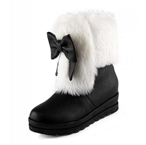 Stiefel Kurze Bowknot Schnee Größe Winter Stiefel Keil Mittlere Unten Ferse Große BOTXV Dicken Damen 42 40 cqwYaUfC