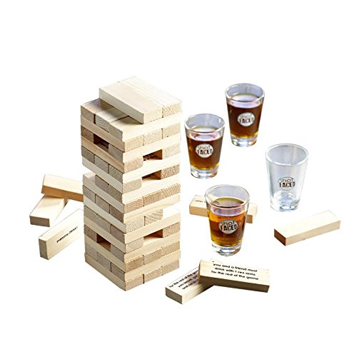 Game Night Tipsy Tower Shot Glass Drinking Game Set, Brown For Sale