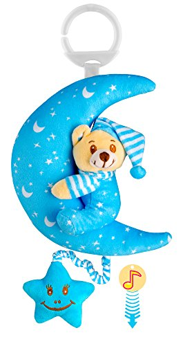 O-KIKI Teddy Bear Stuffed Animal Baby Plush Toy | Pull String Musical Toy (No Batteries Required!) | Hanging Bedtime Crib and Stroller Toy | Soft Plush Bear in Pajamas (light (Moon Teddy Bear)