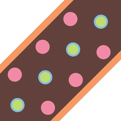 Brown Polka Dots Circles 4pc Self-Stick Wall Border (Pink Self Stick Wall Border)