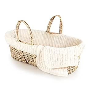 Tadpoles Cable Knit Moses Basket and Bedding Set, Natural