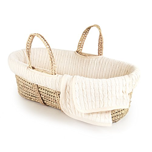 (Tadpoles Cable Knit Moses Basket and Bedding Set, Natural)