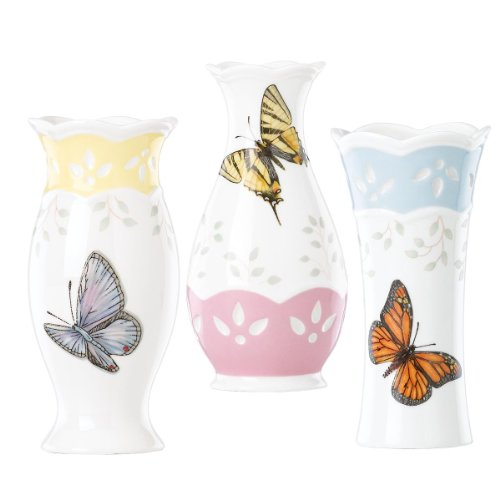 (Lenox Butterfly Meadow Colors 4-3/4-Inch Small Vase, Set of 3)