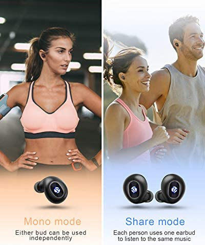 Wireless Earbuds, iTeknic TWS Bluetooth 5.0 Wireless Earbuds IPX8 Waterproof Sport Wireless Earphones with Microphone, Wireless Charging Case, USB-C Quick Charge, Touch Controls for iPhone Android