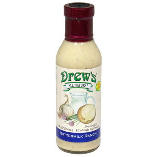 Drew's All-Natural Salad Dressing and 10 Minute Marinade, Buttermilk Ranch, 12-Ounce Bottle