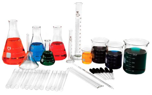 American Educational Borosilicate Glass Laboratory Glassware Kit (36 Pieces)