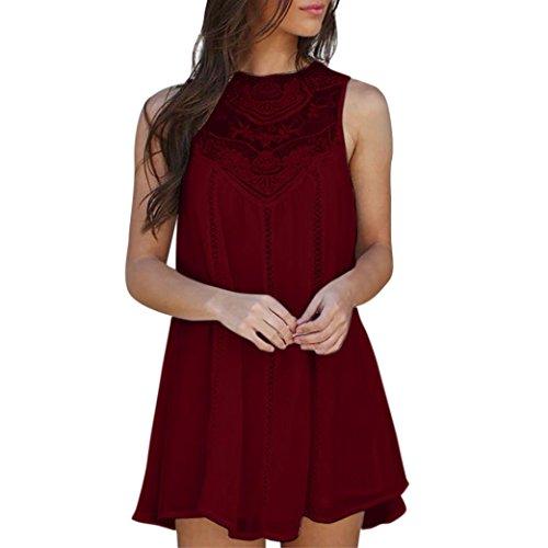 Vestido de verano de mujer, Dragon868 Las mujeres de encaje casual costura O-cuello sin mangas de Gasa mini vestido para niñas Vino