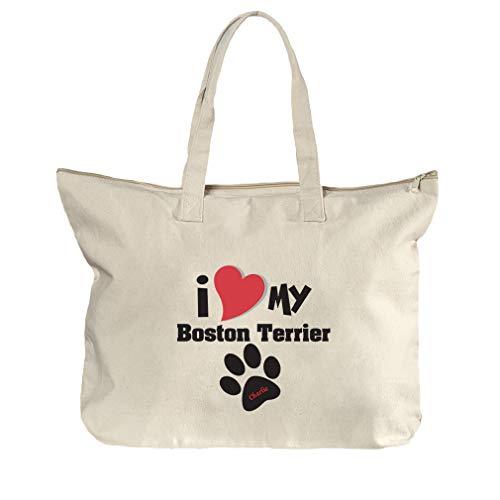 - Personalized Custom Love My Boston Terrier Cotton Canvas Beach Zipper Tote Bag