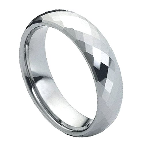 Ladies 6mm Faceted Cut Wedding Band, High Polish Comfort Fit Tungsten Carbide Anniversary Ring - (6mm Faceted Band Gemstone Ring)