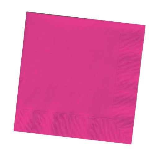 Creative Converting Touch of Color 200 Count 2-Ply Paper Beverage Napkins, Hot Magenta