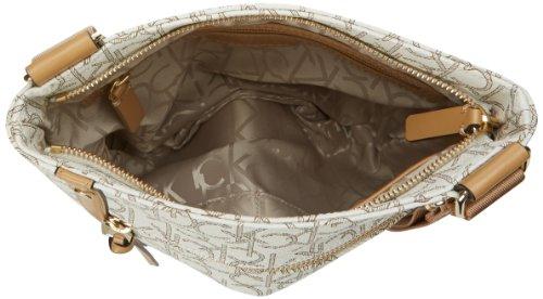 Calvin Klein Hudson Monogram Cross Body Bag,Almond/Khaki/Camel,One Size