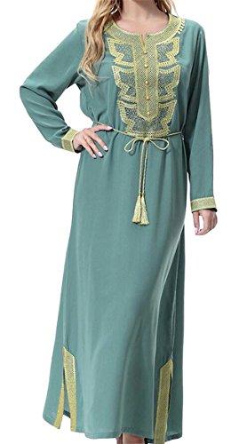 M&S&W Womens Muslim Dress Abaya Arabic Long Sleeved Tunic Dresses 1 XS