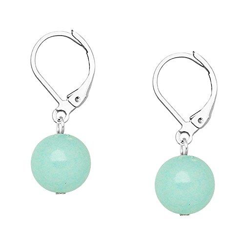 Falari 10mm Round Natural Stone Earring High Polished Rhodium Leverback Aqua Jade
